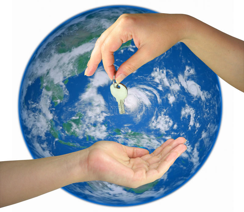Two Woman Hands Giving Key From The Earth Isolated Stock Images
