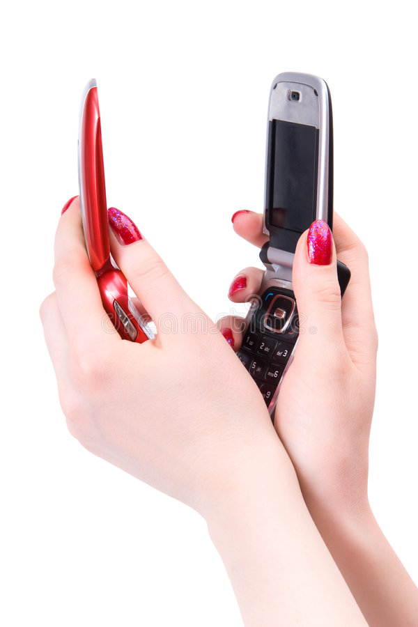 Download Two Woman Hands With Red And Black Mobile Phone Stock Photo - Image: 5114820