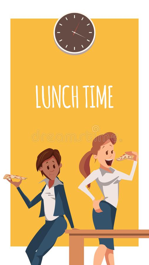 Two Woman Have Pizza for Lunch at Office Banner royalty free illustration