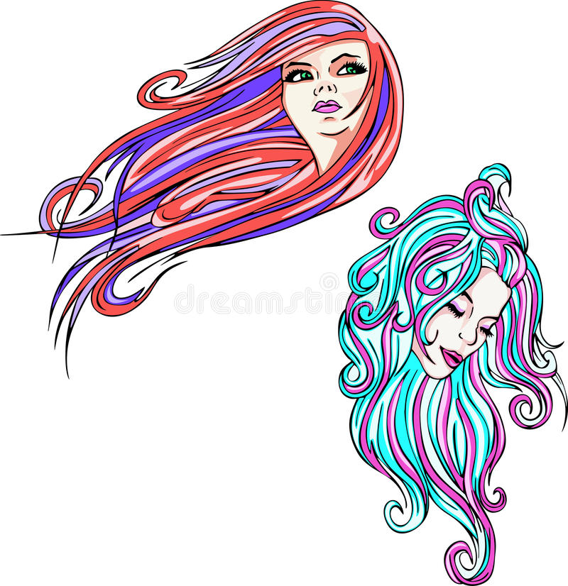 Download Two woman portraits stock vector. Image of color, illustration - 24741584