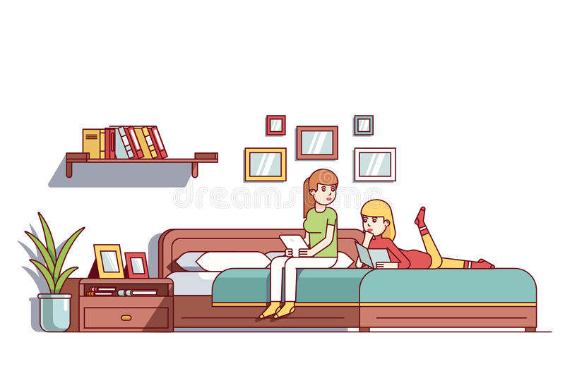 two woman sitting on bedroom double bed talking stock vector