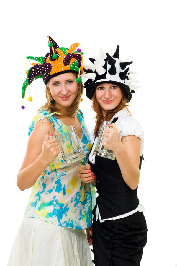 Two woman sport fans stock photo