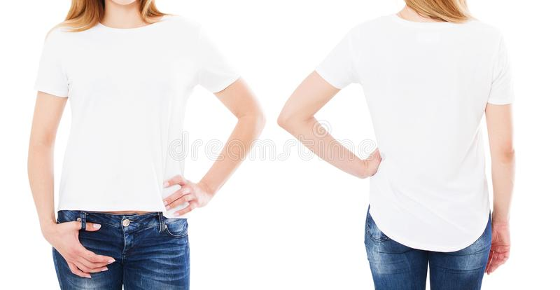 Two woman t shirt isolated, girl pointed on blank t-shirt, copy space, mock up stock photos