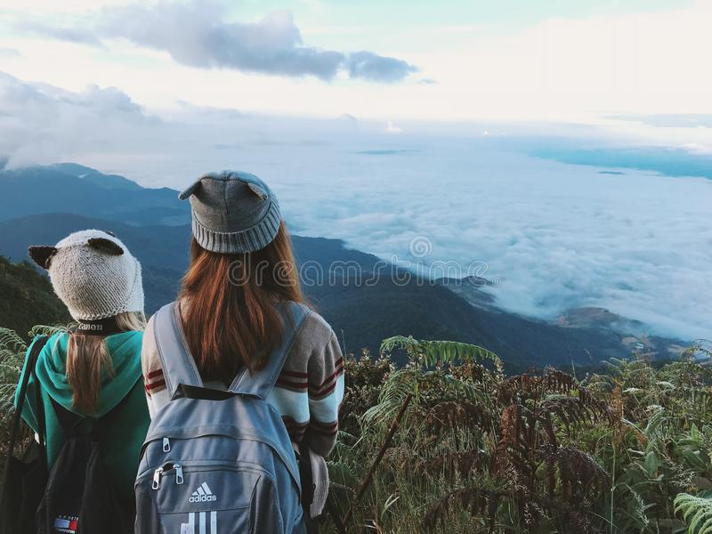 Two Woman Wearing White And Gray Crater Hat Free Public Domain Cc0 Image