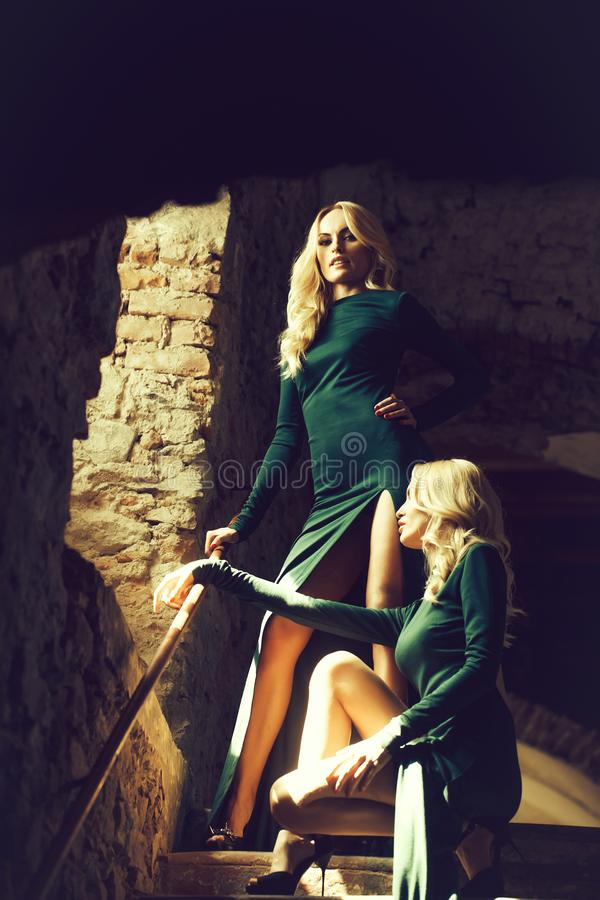 Two beautiful twin sisters royalty free stock photography
