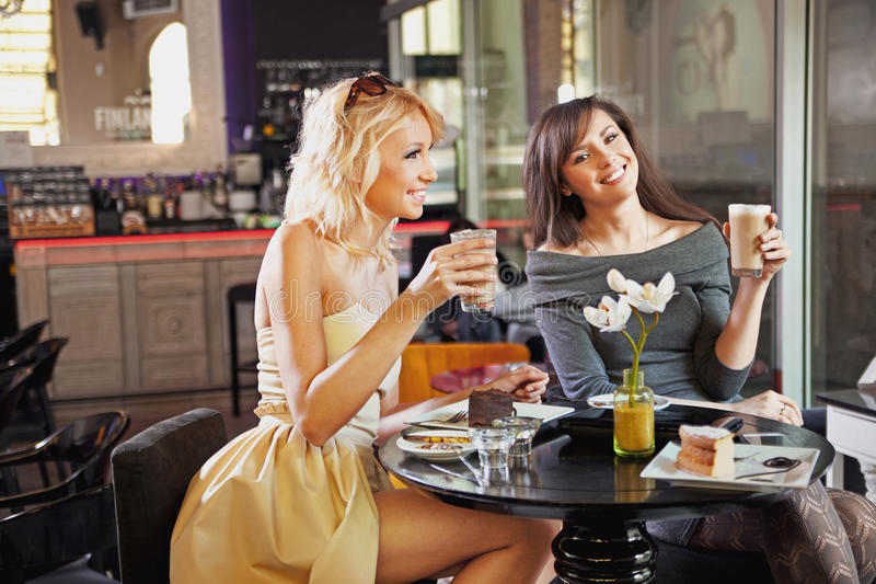 Two Women At A Cafe Stock Images