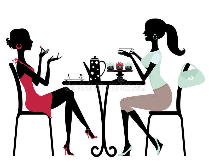 Two women in a cafe stock illustration
