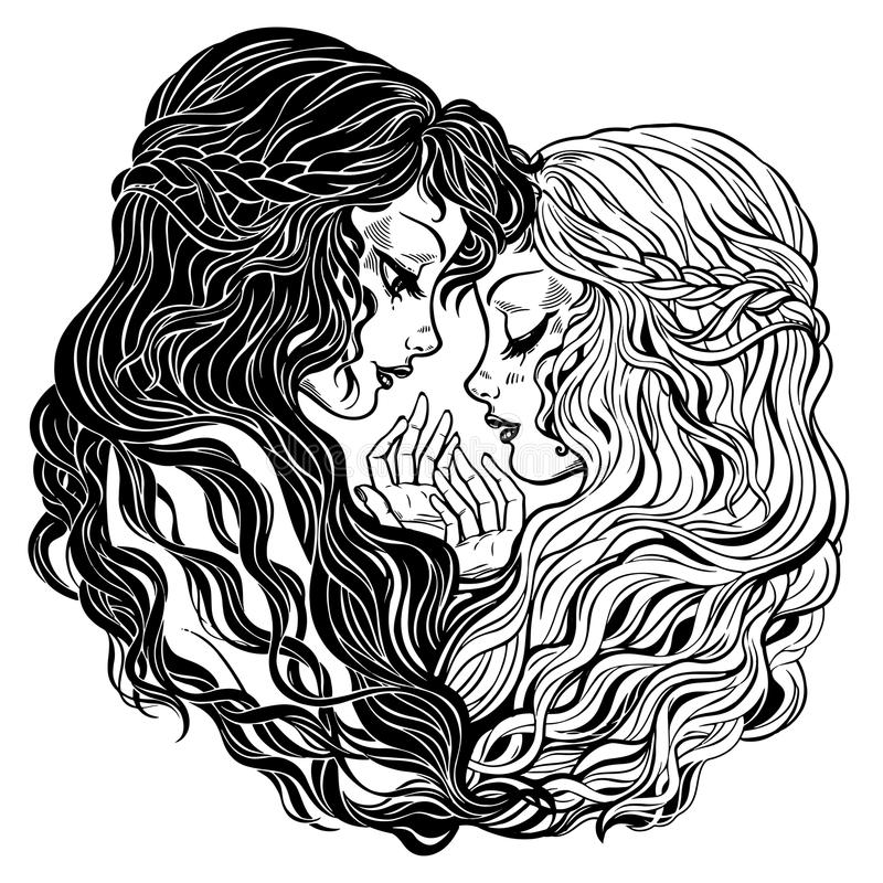 Two women holding hands. Gemini , friends, couple. vector illustration