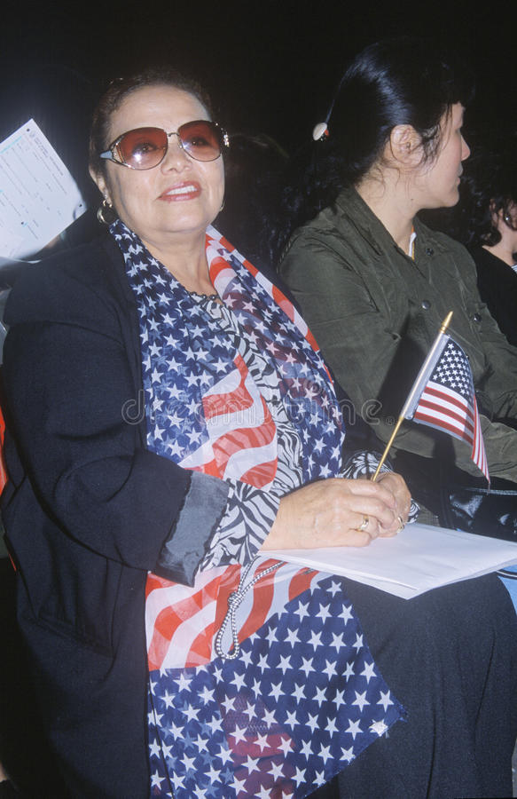 Two Women at Citizenship Ceremony, Los Angeles, California stock photos