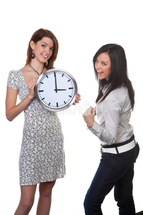 Download Two Women With Clock Royalty Free Stock Image - Image: 8602006