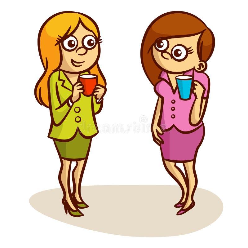 Two Women Coffee Break vector illustration