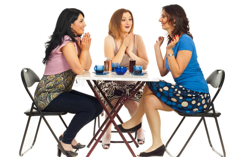 Two Women Congratulate Their Friend Royalty Free Stock Photo