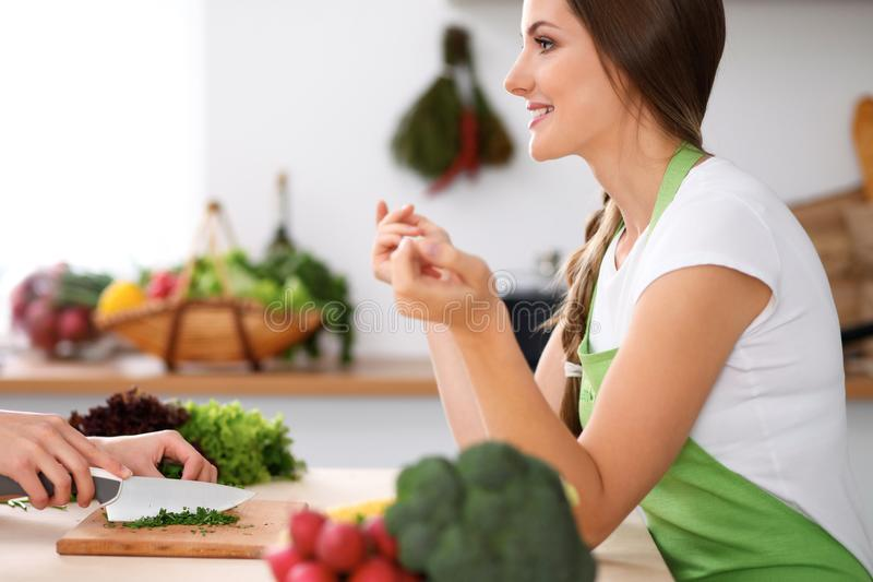 Two women is cooking in a kitchen. Friends having a pleasure talk while preparing and tasting salad. Friends Chef Cook royalty free stock photography