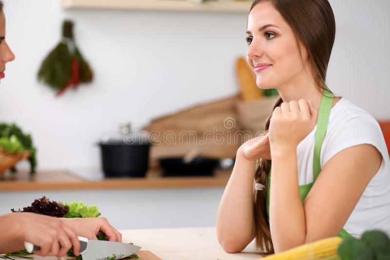 Two women is cooking in a kitchen. Friends having a pleasure talk while preparing and tasting salad. Friends Chef Cook stock photos