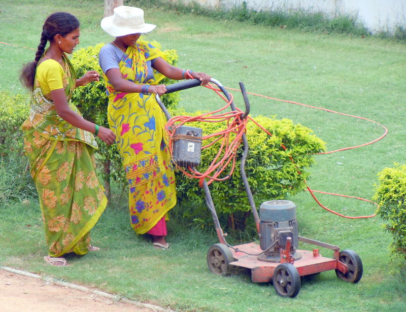 Two women cutting grass stock image
