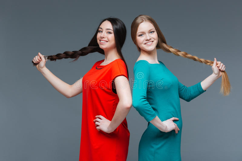 Two women with dark and fair hair showing long braids. Two cheerful attractive young women with dark and fair hair showing their long braids over grey background stock image