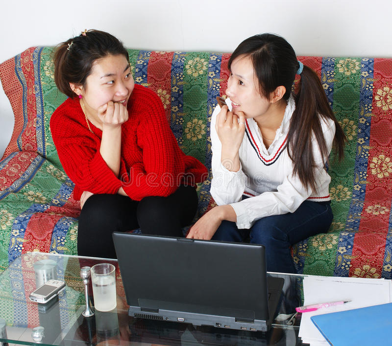 Download The two women are dialogue stock photo. Image of female - 18573980