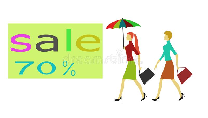 Two women and a 70% discount tag have a white backgroun stock illustration