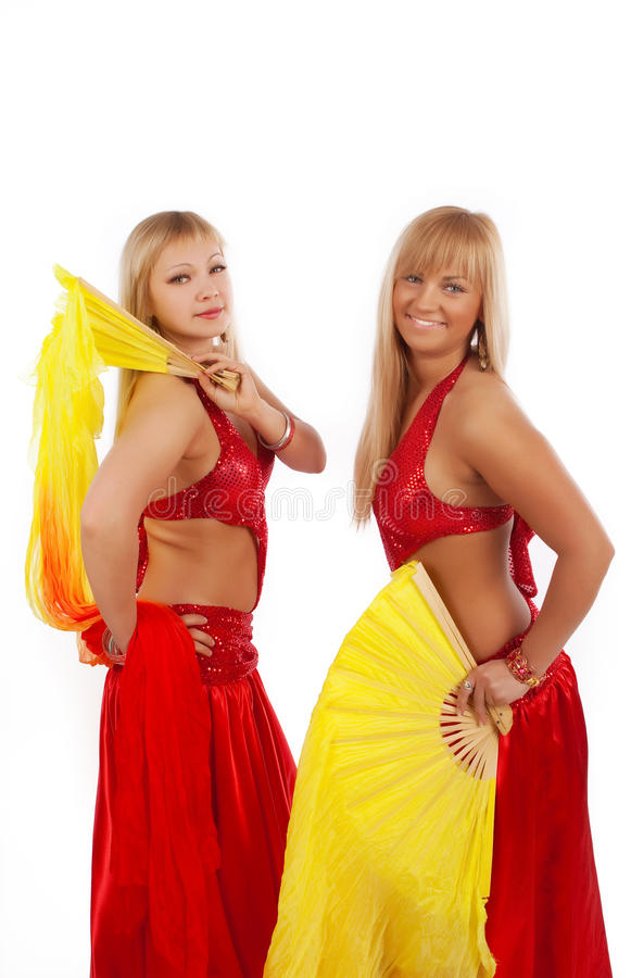 Download Two women with fantails stock photo. Image of attractive - 12869794