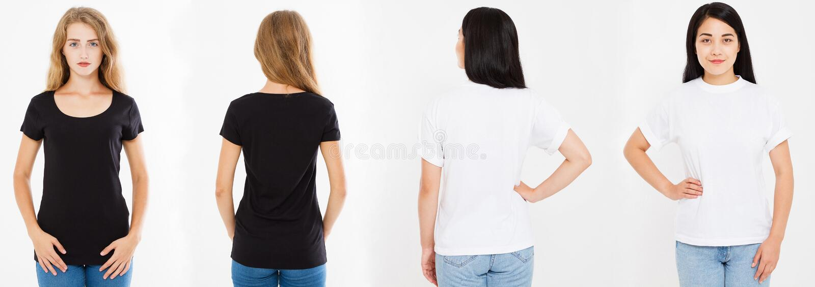 Two women,girls with blank t-shirt isolated, collage caucasian and asian woman in tshirt, blak and white t shirt stock photos