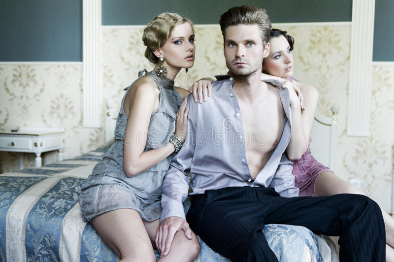 Download Two Women And An Handsome Guy Stock Photo - Image: 23221280