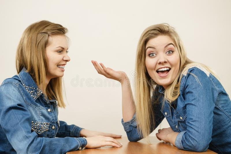 Two women having argue fight. Two women having argue mocking up being mad at each other. Female telling off, ignorance concept royalty free stock image