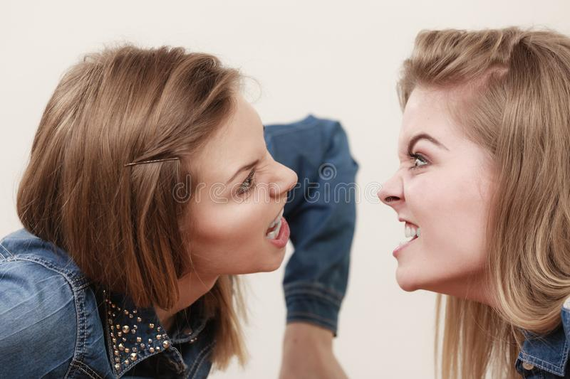 Two women having argue. Mocking up being mad at each other. Female telling off, ignorance coversation concept stock photography