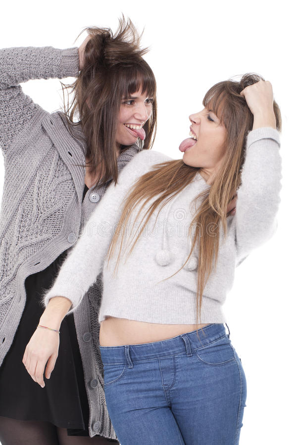 Two women having fun stock photo