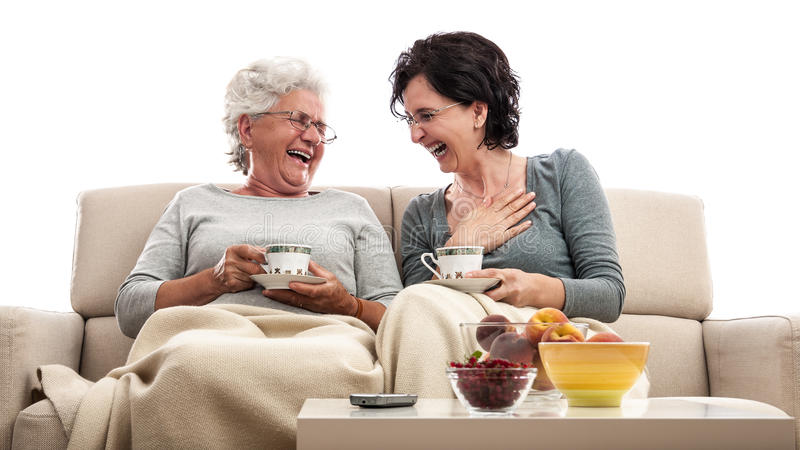 Download Happy Family Women Fun Coffee Laugh Stock Image - Image: 34214979