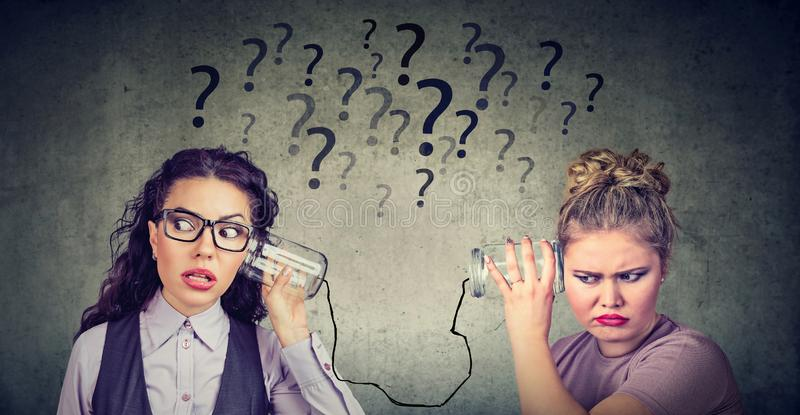 Two women having troubled communication royalty free stock photos