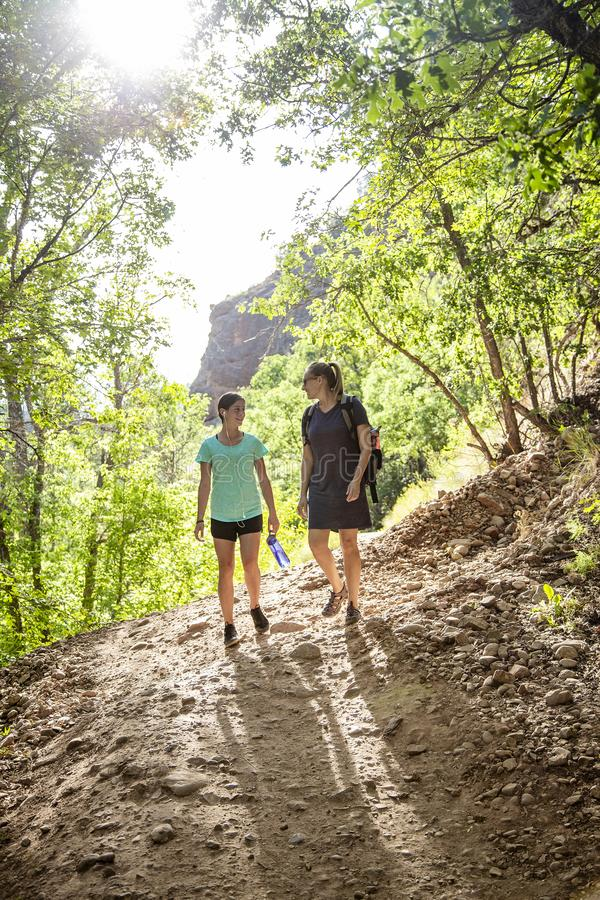 Two women hiking on a scenic mountain trail talking to each other. Two women hiking together along a scenic mountain trail on a summer day. Lifestyle photo of stock photo