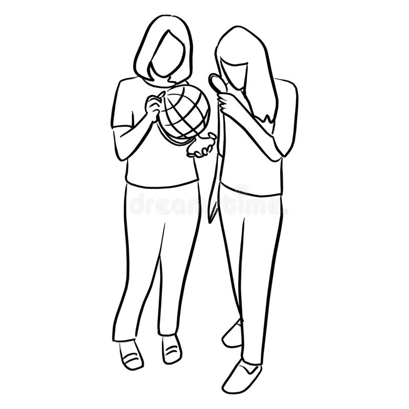 two women holding world globe and magnifying glass vector illustration sketch doodle hand drawn with black lines isolated on whit vector illustration