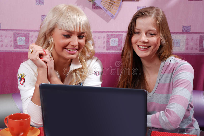 Download Two women with laptop stock photo. Image of beauty, women - 11473184