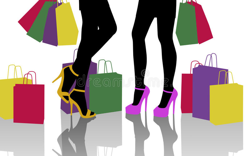 Two women with lots of colorful shopping bags vector illustration