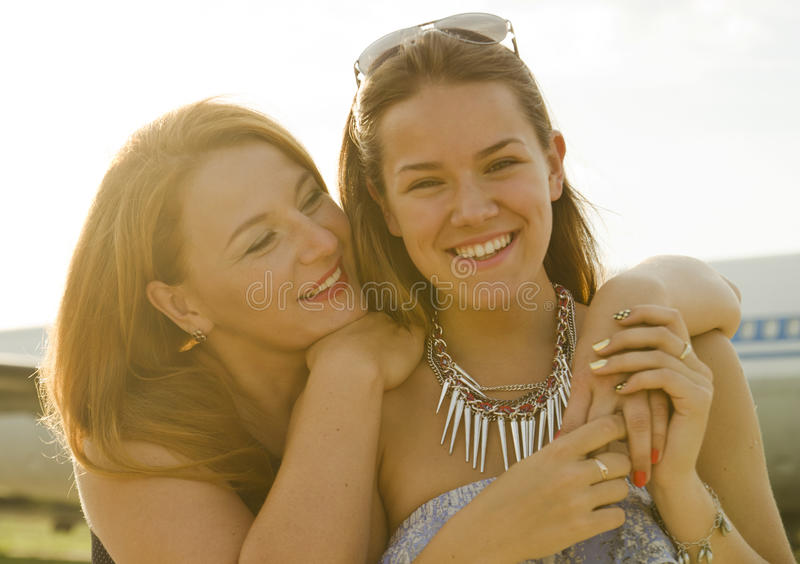 Two Women Mother And Daughter Met At The Airport After Trip Royalty Free Stock Photos