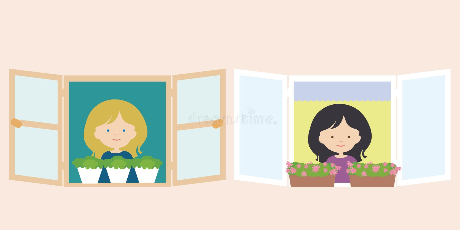 Two women, neighbors, standing in window with flower pot and smiling. Vector stock illustration
