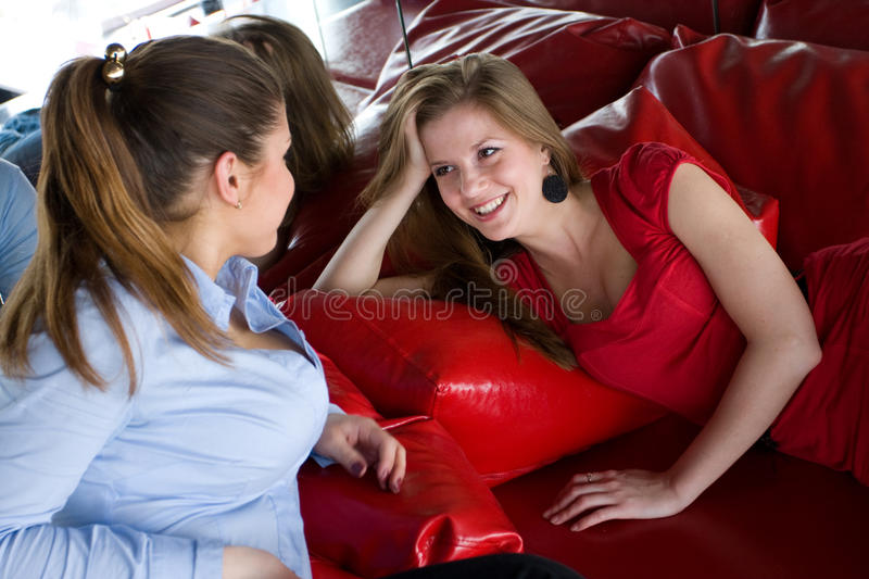 Download Two women in nightclub stock photo. Image of pillow, laughing - 12259296