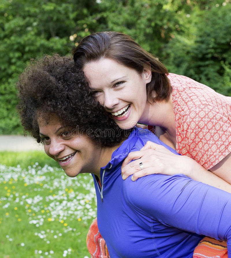 Two women in park royalty free stock photos