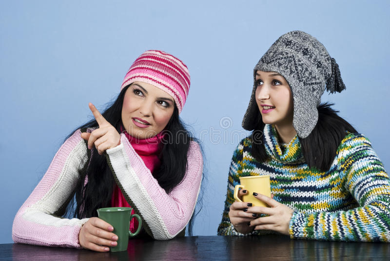 Download Two Women Point And Looking Up Stock Image - Image: 12072035