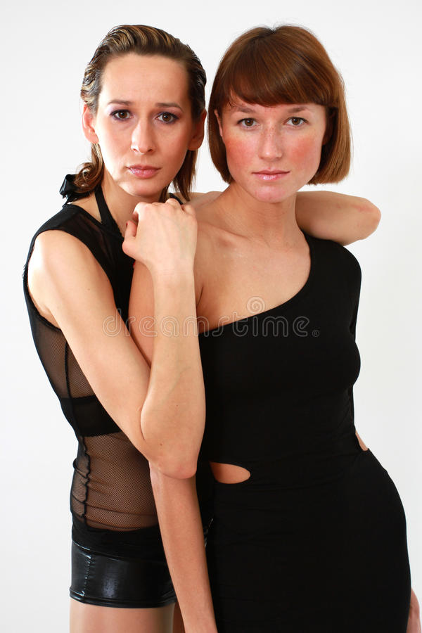 Two women portrait stock photos