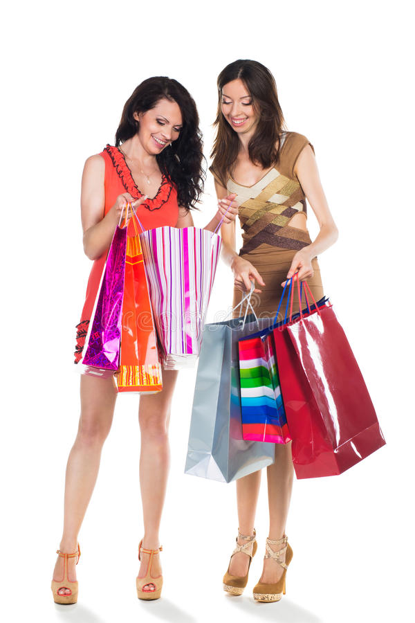 Two women shooping royalty free stock image