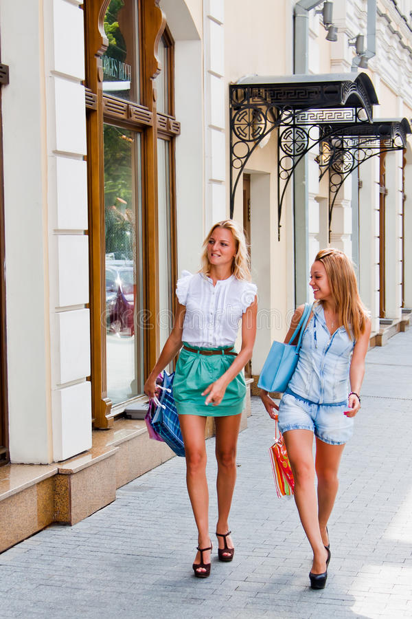 Download Two women with shopping stock photo. Image of outdoors - 27279366