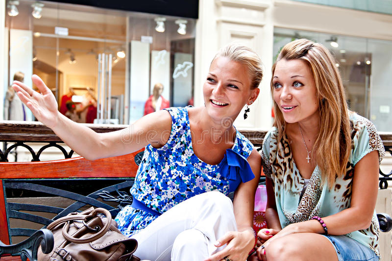 Download Two Women In A Shopping Center Stock Photo - Image: 27633850