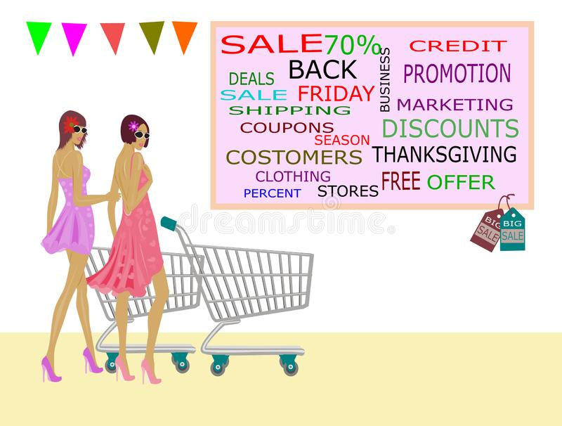 Two women in a skirt and a trolley are going to go shopping. At the mall Because there is a reduction in product prices royalty free illustration