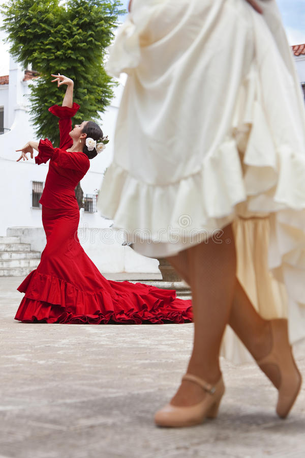Two Women Spanish Flamenco Dancers In Town Square Royalty Free Stock Images
