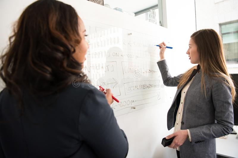 Two Women Standing in Front of Rectangular Whiteboard stock images