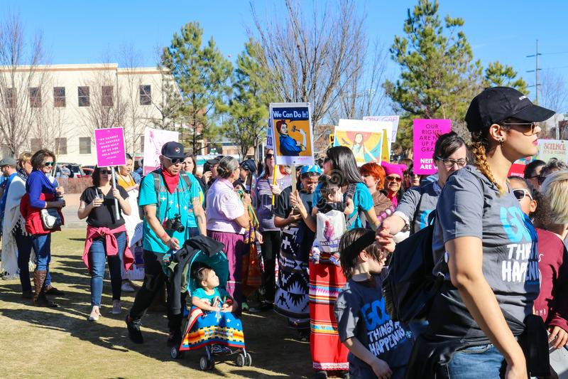 Native Americans partipate in Womens March in Tulsa Oklahoma USA 1-20-2018. A group of Native Americans partipate in Womens March in Tulsa Oklahoma USA 1-20-2018 stock images