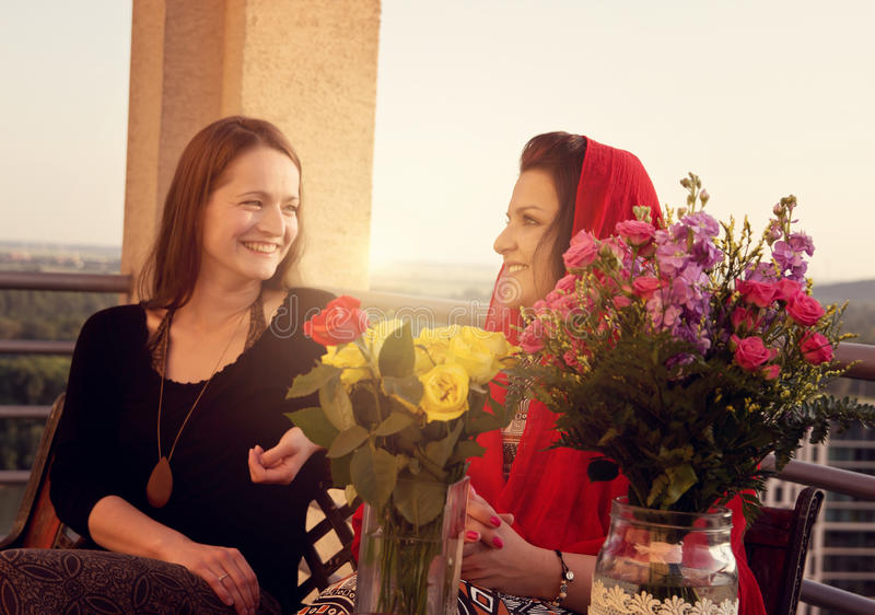 Two Women Talking royalty free stock images