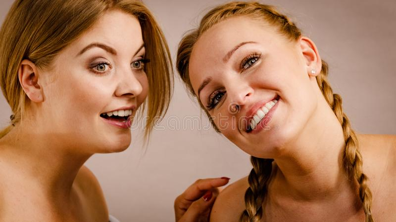 Two women talking together royalty free stock photo