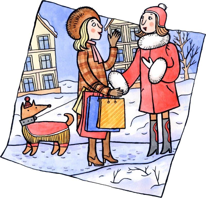 Two women talking at the winter street stock illustration